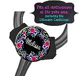Yoke Stethoscope Tag - Lilac and Rose Black Floral - Steth ID Tag / Littmann / Thicker Tubing / Stethoscope Tag