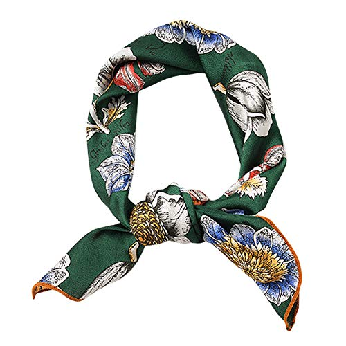 GERINLY Floral Neckerchief Square Scarf Green Accessories for Spring Beach Scarf Headband (Pattern B)]()