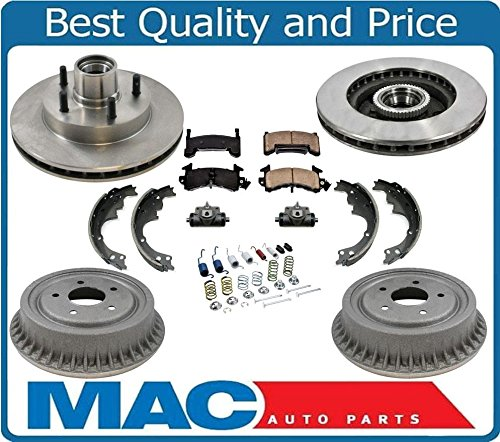 (94-02 GM S10 Pick Up 2 Wheel Drive W ABS Brake Disc Rotors Drums Pads Shoes 7Pc)