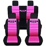 Totally Covers Fits 2007-2010 Jeep Wrangler JK Seat Covers: Black & Hot Pink - Full Set: Front & Rear (23 Colors) 2008 2009 2-Door/4-Door Complete Back Solid/Split Bench