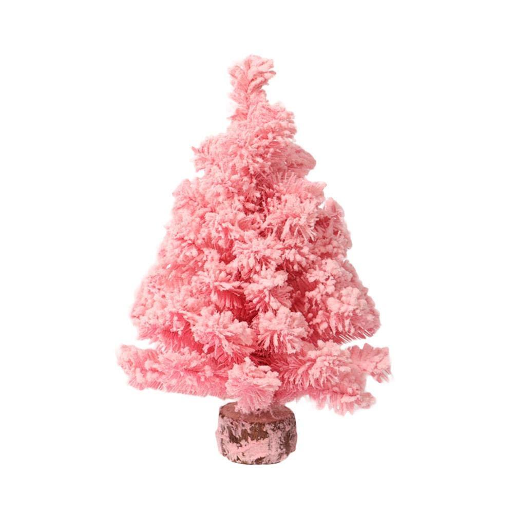 Decorazione da tavolo albero di Natale rosa Xmas Pink Cedar Tree con effetto neve per la decorazione della tavola del partito di casa iBaste