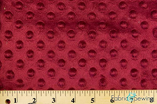 Burgundy Red Minky Bubble Dimple Dot Plush Fur Fabric Polyester 58-60