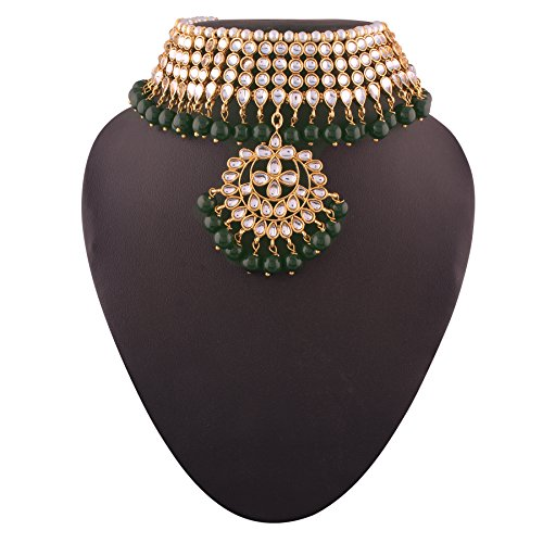 I Jewels Kundan & Pearl Choker Necklace Set for Women (K7058G) by I Jewels (Image #1)