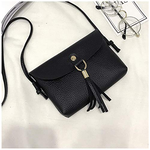 Vintage with Bag Shoulder Bags Woman's Small Fashion Messenger Handbag BLACK Tassel Mini Bafaretk gxvRTtI