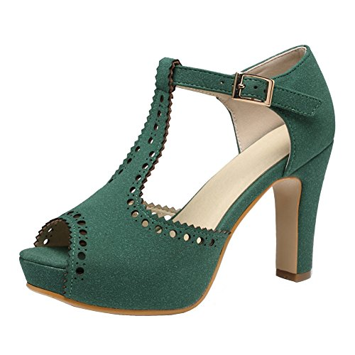 Ankle Sandals Block Suede Pumps getmorebeauty T Women's Heeled Vintage Straps Dress Green wxqAt4aC
