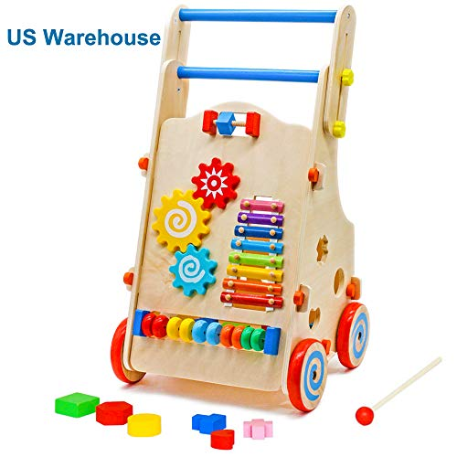 Mytunes Baby Walker for Boys and Girls, Wooden Push and Pull Activity Toy Toddler Learning Walking Toys Shopping Cart (Height Adjustable 20.47-24.33IN) from Mytunes