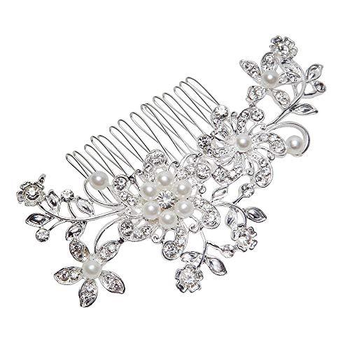 Islandse Women Bridal Wedding Flower Diamante Crystal Rhinestones Pearls Hair Clip Comb Silver