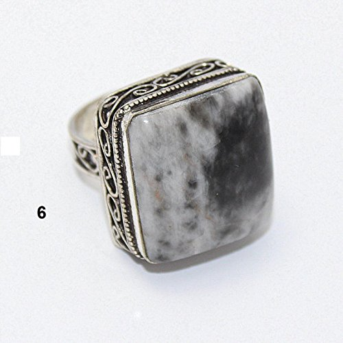 Silver Overlay Vintage (Dendrite Opal Ring Silver Overlay Fashion Jewellery Vintage Handmade Jewelry 7.50 US Size.)