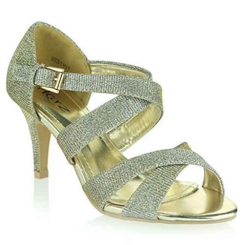 Mujer Señoras Briller Correas Tacón Alto Plataforma Noche Fiesta Boda Prom Sandalias Zapatos Talla Estaño