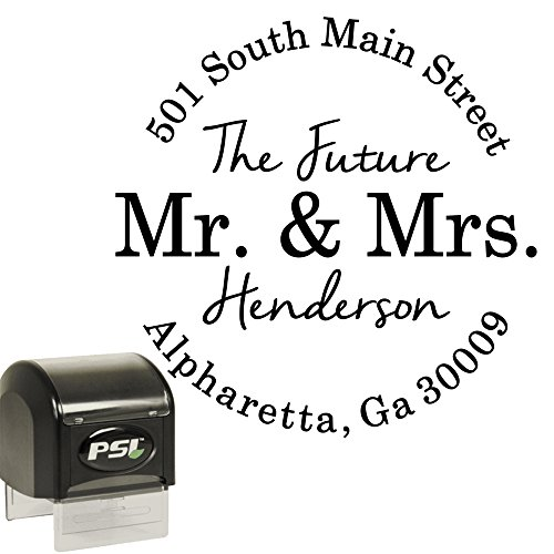 Return Address Stamp - Future Mr and Mrs - Round Custom Personalized Self Inking Circle Stamp