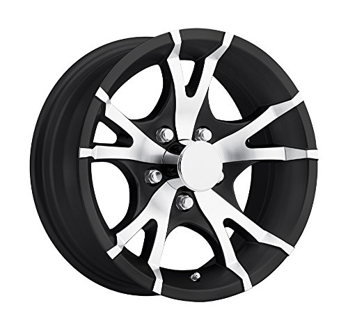 15 inch Viper Black Machined Aluminum 5 Bolt Trailer Rim (Trailer Rims Inch 15)