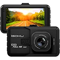 iGOKU Dash Cam Full 3.0 LCD Screen, FHD 1080P 1920x1080 DVR, 120°A+ Wide Angle Dashboard Camera, G-Sensor, Night Vision, WDR, Parking Guard, Loop Recording, Car Camera Recorder 24 Hours Monitoring