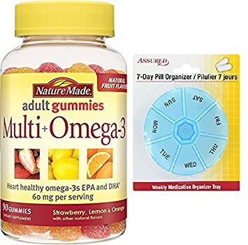 Naturaleza Multi Plus Omega3 gomitas, cuenta 90 con gratis 7 días plástico píldora organizadores