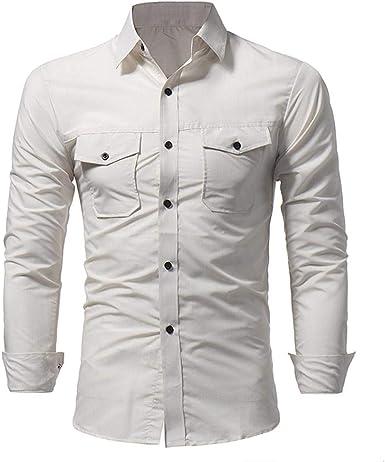 Yvelands Camisas Hombres Moda Slim Fit Doble Bolsillo Manga Larga Top Blusa Camisas de Vestir Fiesta de Trabajo Diario Verano Otoño Invierno, Liquidación: Amazon.es: Ropa y accesorios