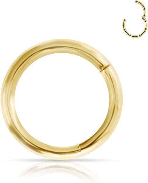 Endless Clicker 14K Solid Gold Huggie Hinged Hoop Round Earrings 4 Size Options Cartilage, Conch, Helix, Lip, Nose, Rook, Septum, Tragus