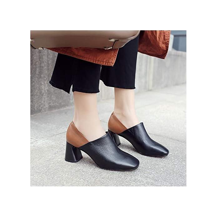 Pingxiannv Primavera Moda Concisa In Pelle Da Donna Pumps Tacco Quadrato Slip-on Punta Quadrata Colori Misti Scarpe