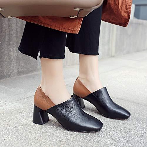 PINGXIANNV Frühlingsmode Pumps Kurze Leder Frauen Pumps Frühlingsmode Quadratische Ferse Slip-On Quadratische Zehe Mischfarben Schuhe Frauen d59ec2