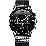 KASHIDUN.Men's Watches Casual Quartz Waterproof Watch Black Steel Case Mesh Alloy Band ZH-QHsd