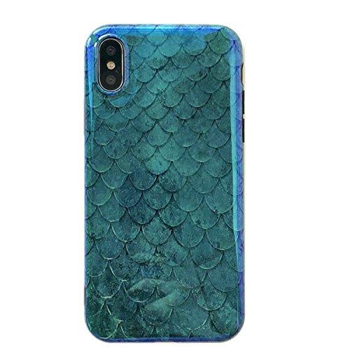 Mermaid iPhone Xs Max Case,Easue Emerald Green Fish Scale Phone Case with Reflective Blue Ray Slim-Fit TPU Snap Cover for iPhone Xs Max 6.5 inch