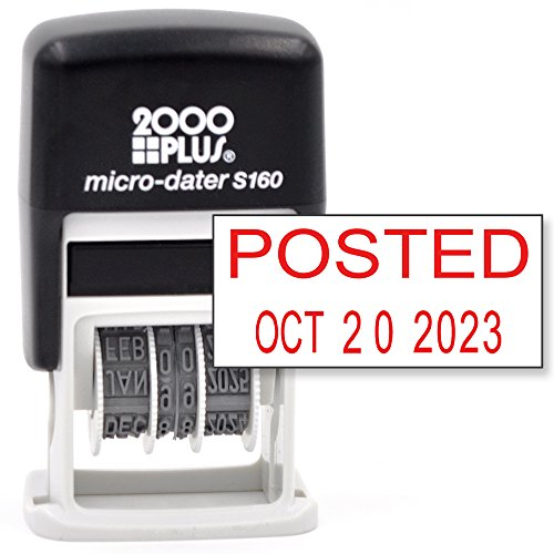 Cosco 2000 PLUS Self-Inking Rubber Date Office Stamp with POSTED Phrase & Date - RED INK (Micro-Dater 160), 12-Year Band