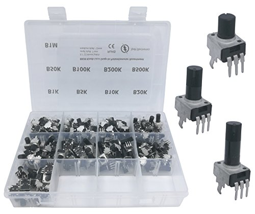 Mini Potentiometer - 135 pcs 9 values 3 shaft size knobless snap-in mini pot RK09 small Potentiometer Assortment Kit for PCB mount B1K, B5K, B10K, B20K, B50K, B100K, B200K, B500K, B1M