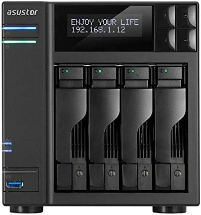 ASUSTOR as6404t Sistema NAS de 4àbahías (Intel Celeron (Apollo Lake), 8àGB de RAM, Gigabit LAN con agregación de Enlace, HDMI 2.0, Hot Swap, Raid 0, 1, 5, 6, 10ào JBOD) Negro