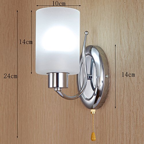 Wall Lamp Pull Chain Switch E27 Modern Metal Living Room Bedroom Bedside Hotel White Matte Glass Shade Wall Sconces
