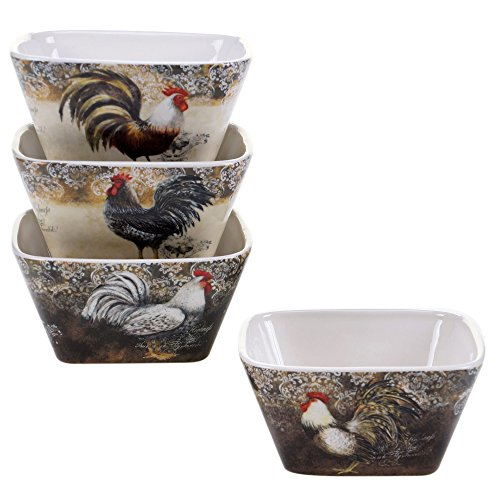 Certified International 57479SET/4 Vintage Rooster Ice Cream Bowls (Set of 4), 5.5