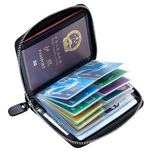 RFID Blocking Credit Card Holder, Boshiho Leather Passport Wallet Business Card Case (Black) ()