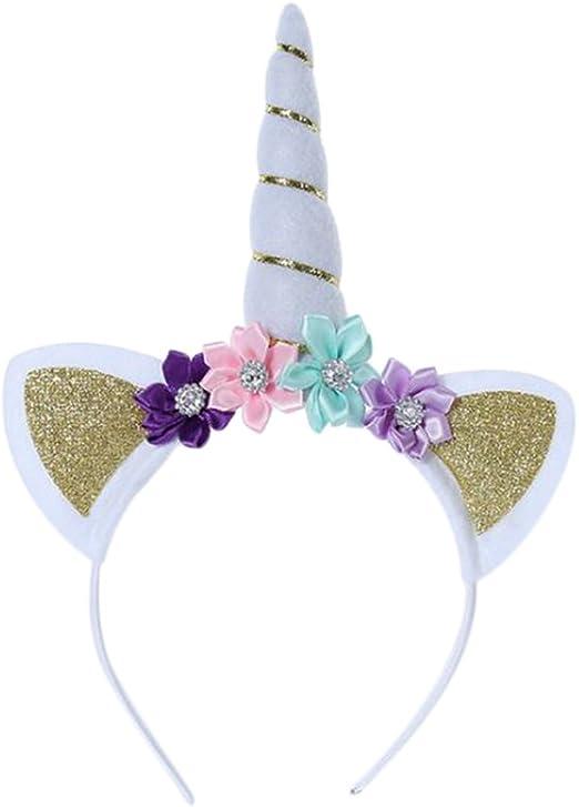 Wimagic 1 Diadema de Unicornio para niñas con Flores, Accesorio ...