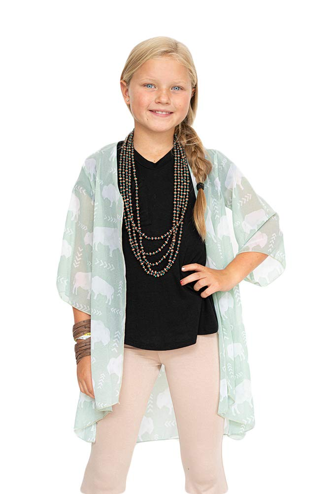 L&B Kids sage Buffalo Printed Quarter Sleeve Kimono (X-Small) by L&B