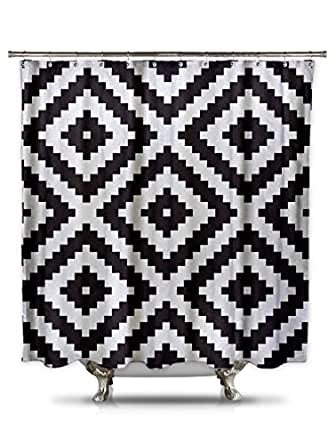 Amazon Com Black And White Diamond Grid Pixel Shower