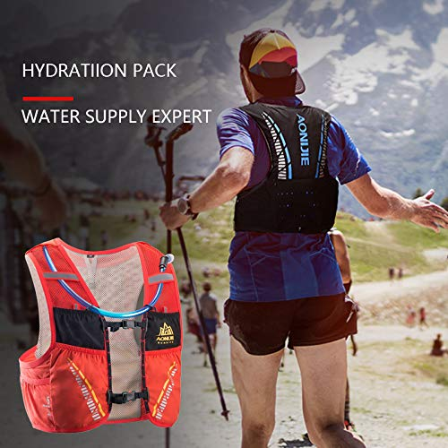 POJNGSN Hydration Pack Backpack Rucksack Bag Vest Harness Water Bladder Hiking Camping Running Race Climbing 5L ML Black 2L Bladder by POJNGSN (Image #7)