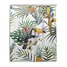 """SUABO Polyester Waterproof Fabric Shower Curtain Decorative Bathroom Curtain with 12 Hooks 60""""(w) x 72""""(h) Inch, Floral Pattern"""