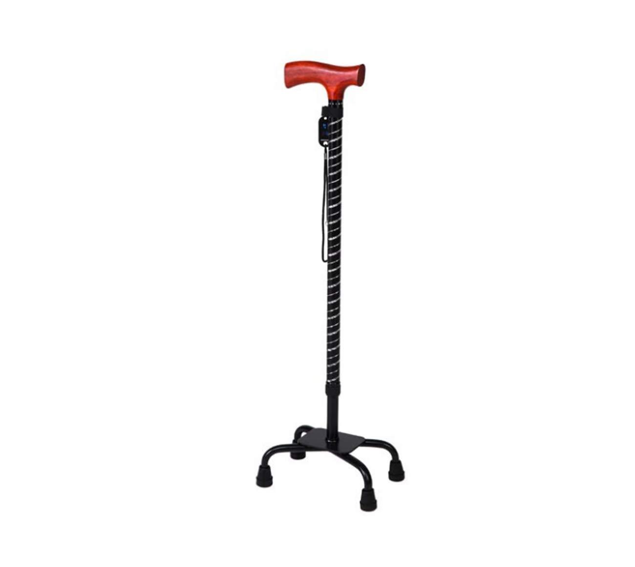 Tochange Älterer gehender Stock, große Vier Fuß Gehstock-Stützhilfe mit Rotem Höhe Birnen-Holzgriff, Justierbare Höhe Rotem c9d596