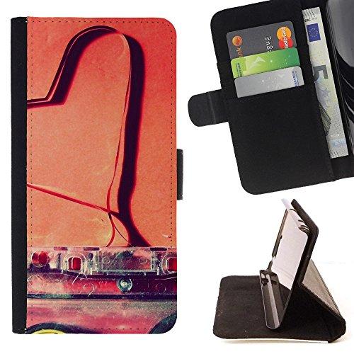 God Garden - FOR Apple Iphone 4 / 4S - Love Cassette - Glitter Teal Purple Sparkling Watercolor Personalized Design Custom Style PU Leather Case Wallet Fli