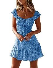 Bigyonger Womens Striped Sleeveless Dress Crew Neck Ruffle Empire Waist Tunic Maxi Dresses Pockets