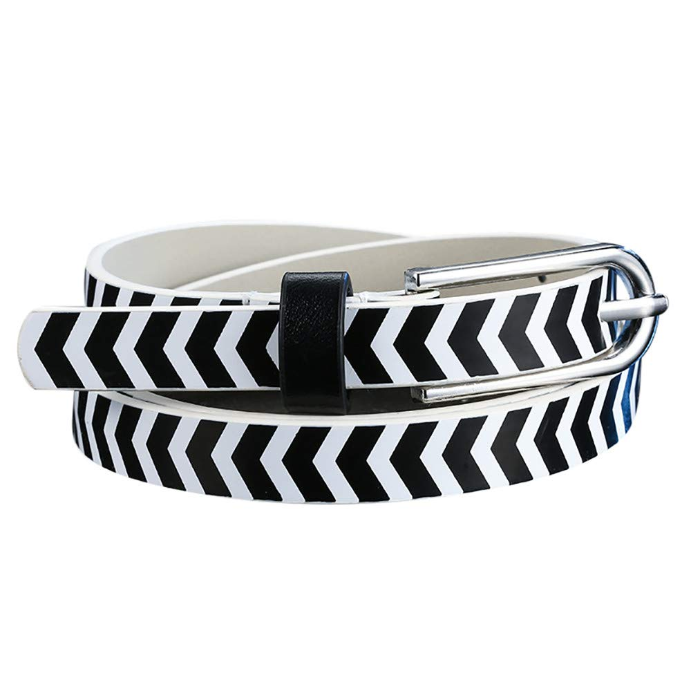 B2keevin Mens Ladies Elastic Webbing Belts Leather Trim Canvas Stretch Braided Belt