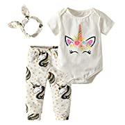 Baby Girl Clothes Summer Cartoon Printed Short Sleeve Bodysuit Tops Outfit Set with Pants and Headband (60(0-6 Months))