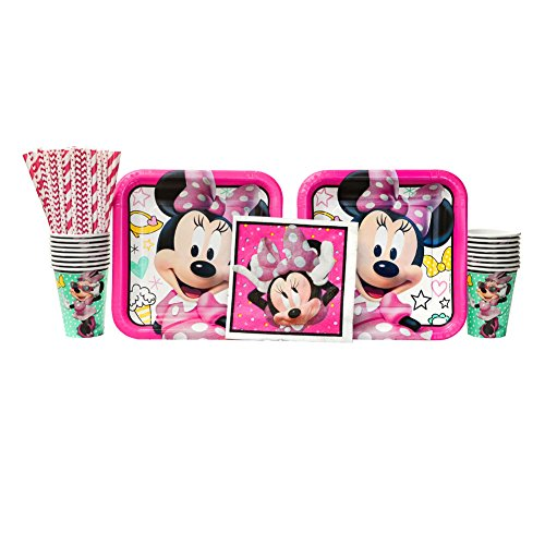 Minnie Mouse Happy Helpers Birthday Party Supplies Pack for 16 Guests | Straws, 16 Dinner Plates, 16 Luncheon Napkins, and 16 Cups | Celebrate Your Kid's Birthday with this Minnie -