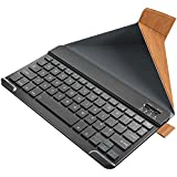 Nulaxy KM12 Bluetooth Keyboard Business Portable Rechargeable Compatible with Apple iPad iPhone Samsung Tablets Phones W Keyboard Cover - Brown
