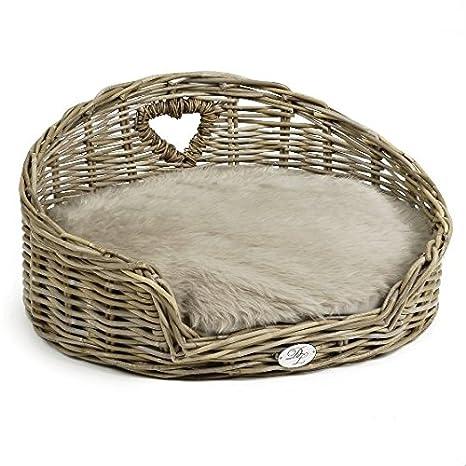 Perro sofá cama para perros para perros de mimbre con corazón redondo Perros de mimbre de envío - Tumbona con cojín: Amazon.es: Productos para mascotas