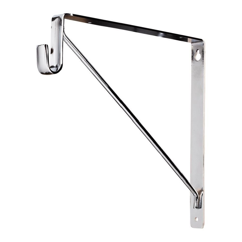 Box of 10- Chrome- Shelf & Rod Support Bracket- For Oval Closet Rods