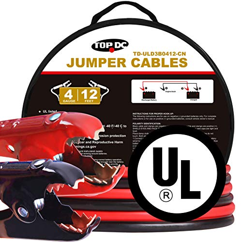 TOPDC 100% Copper Jumper Cables 4 Gauge 12 Feet 500AMP Heavy Duty Booster Cables with Carry Bag and Safety Gloves (4AWG x 12Ft) UL Listed