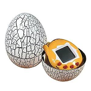 Basage Electronic Pets Toy Key Digital Pets Tumbler Dinosaur Egg Virtual Pets White