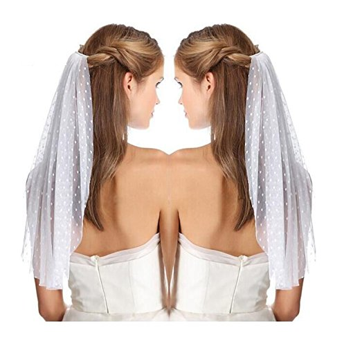 [1T Women Flower Girl Wedding Bridal Veil with Comb-V47(Ivory)] (Gothic Bride Halloween Makeup)