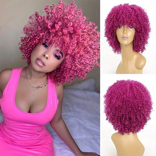 IVY HAIR Synthetic Fashion Style Kinky Curly Rose Red Wig Afro Short Bob Wigs for Women Cosplay Wave Wig with Bangs Natural Heat Resistant Fiber