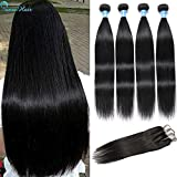 10a Grade Panse Hair Peruvian Straight Human Hair 4 Bundles with Three Part 4x4 Swiss Lace Closure 100% Unprocessed Virgin Hair Extensions 1b Black Color for Women (22 22 24 26+18)