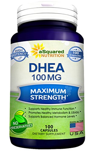 Growth Hormone Dhea (Pure DHEA (100mg Max Strength, 100 Capsules) to Promote Balanced Hormone Levels for Women & Men - Natural DHEA Supplement Pills to Support a Healthy Libido, Brain, Immune Function, Energy & Metabolism)