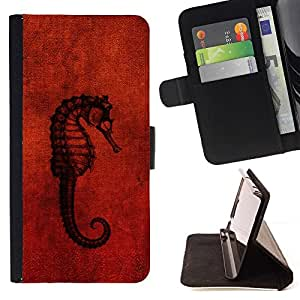 DEVIL CASE - FOR Sony Xperia Z1 L39 - Seahorse Red - Style PU Leather Case Wallet Flip Stand Flap Closure Cover